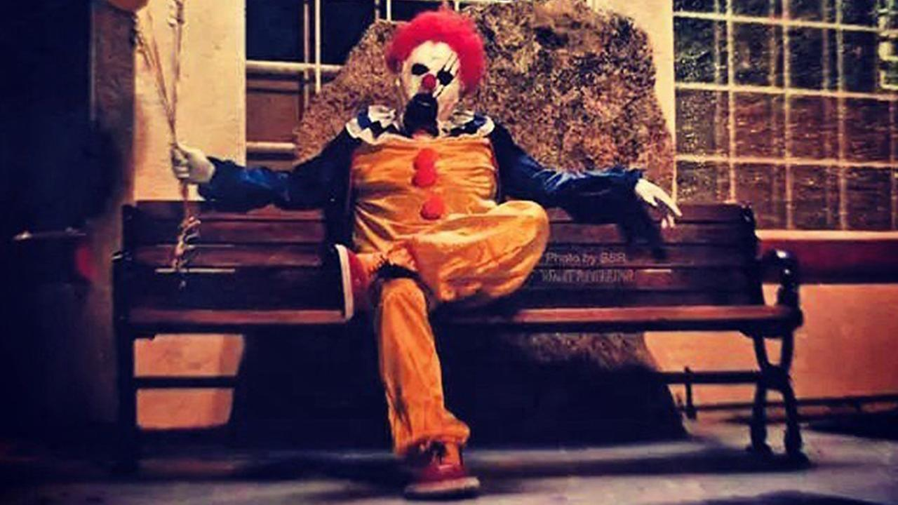 This Instagram photo posted by @WascoClown shows a clown posing for a photo on a bench in San Joaquin Valley.
