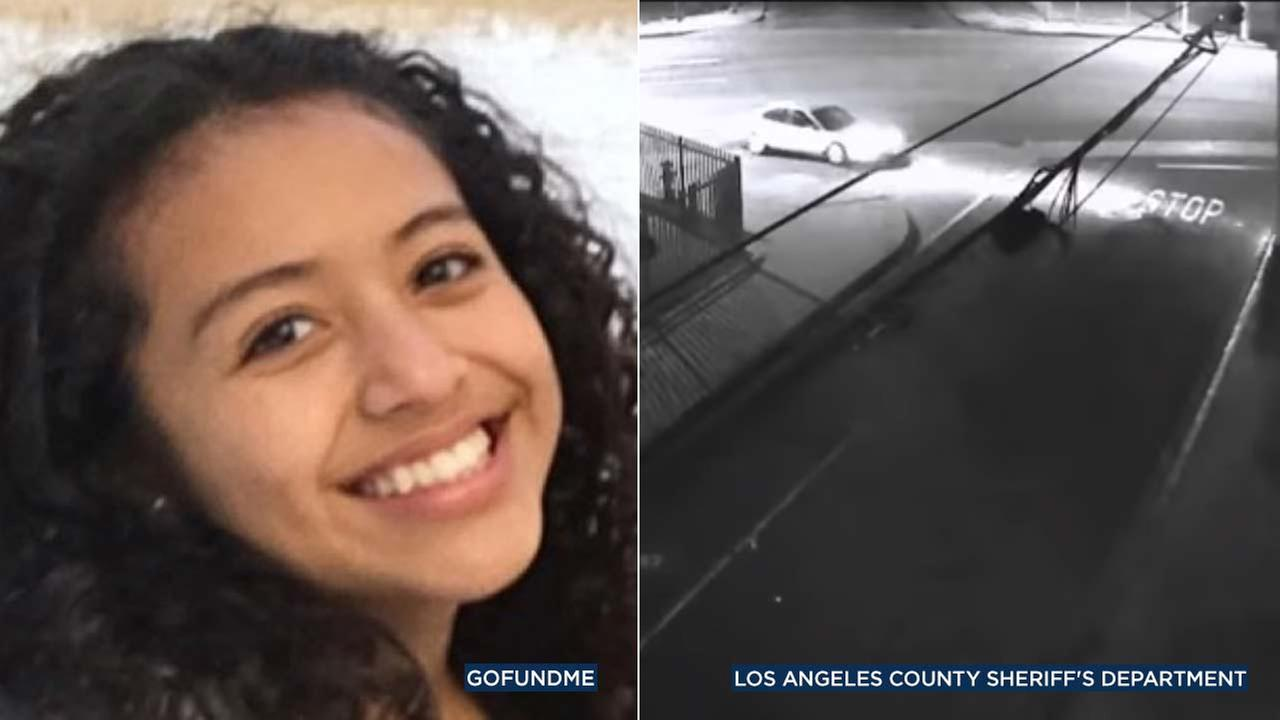 (Left) Danah Rojo-Rivas is seen in a photo from a GoFundMe page. (Right) A surveillance image shows a car possibly linked to a shooting that killed Rivas in 2016.