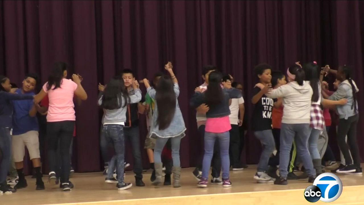 The Conga Kids dance program runs across seven school districts and teaches fifth-graders not only how to dance, but improve their English, math and social skills.