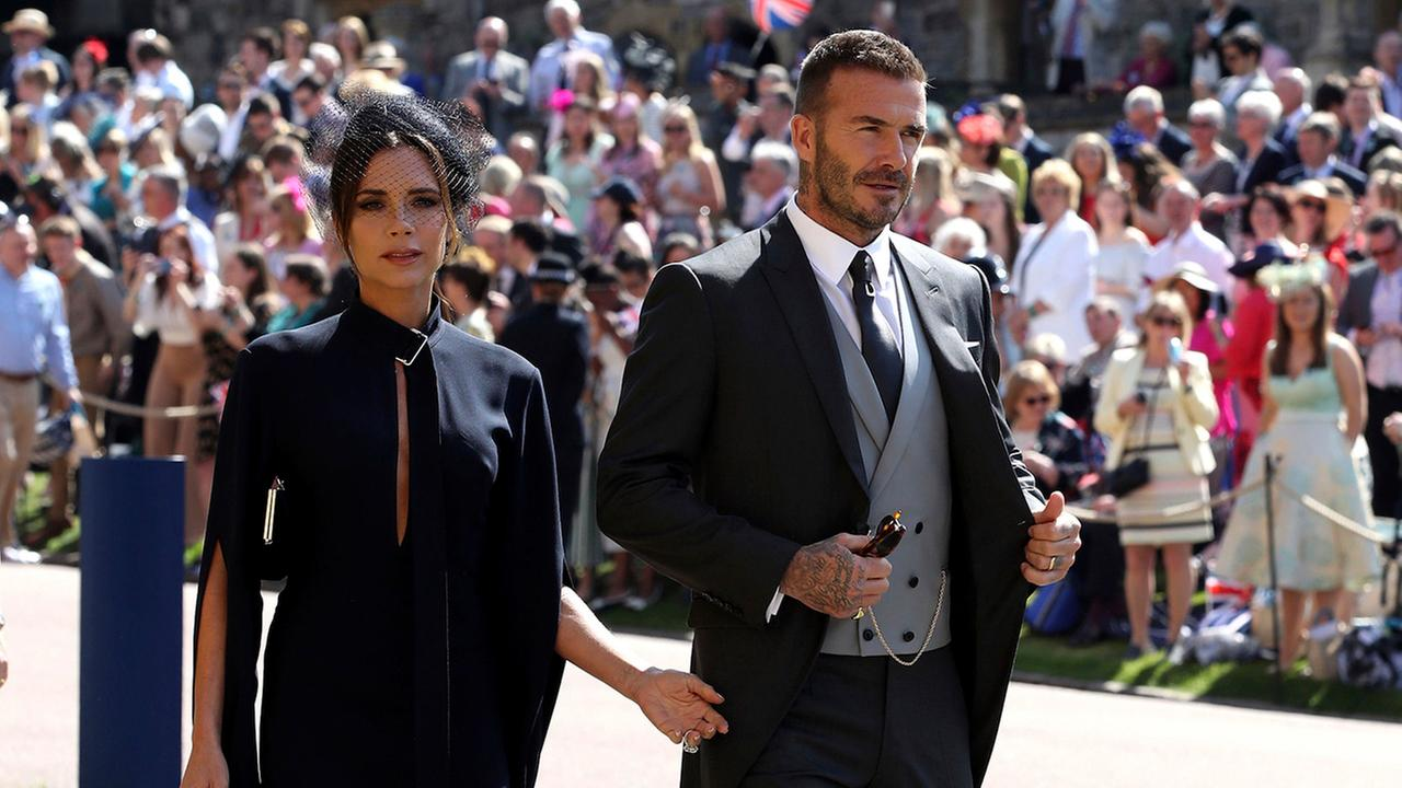 David and Victoria Beckham arrive for the wedding ceremony of Prince Harry and Meghan Markle at St. Georges Chapel in Windsor Castle.