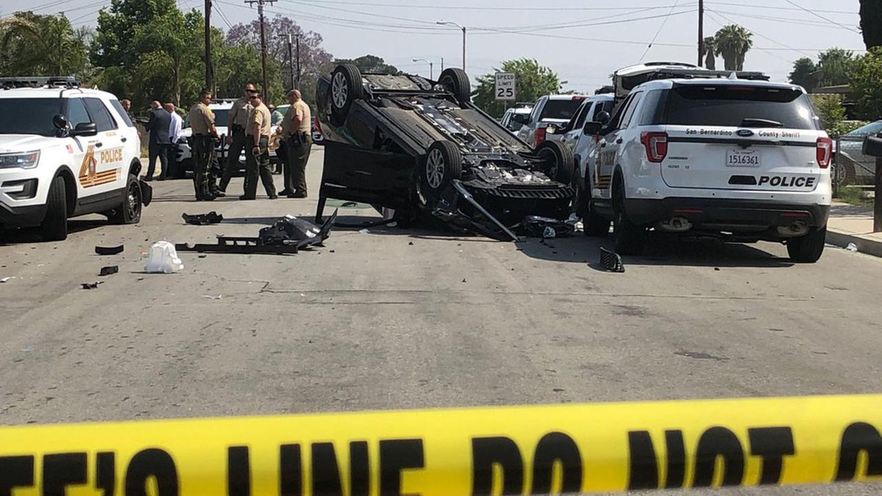 The scene of a crash in Highland where three law enforcement officials were injured on Wednesday, May 23, 2018.