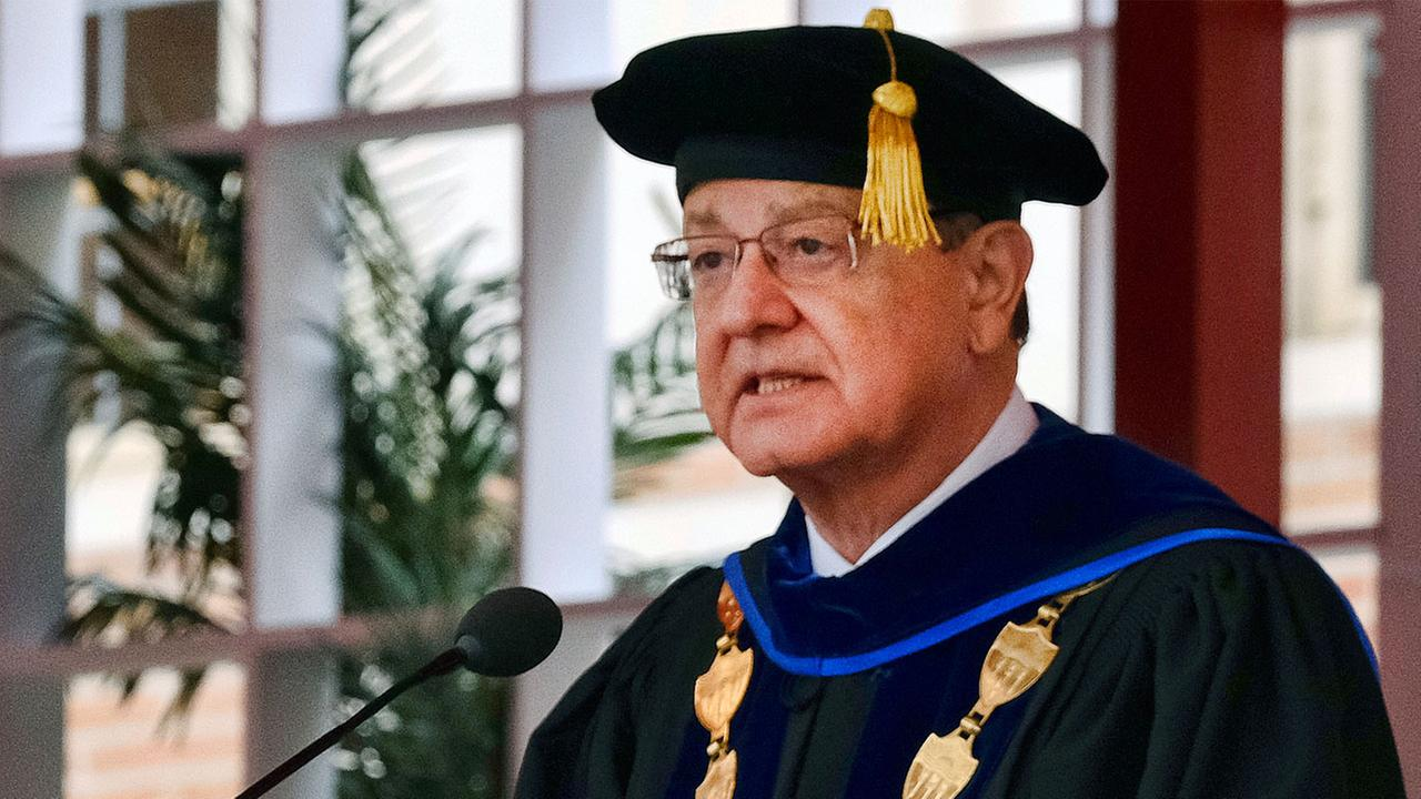 In this May 12, 2017 photo USC President C.L. Max Nikias attends the University Of Southern Californias Commencement Ceremony at Alumni Park at USC in Los Angeles.