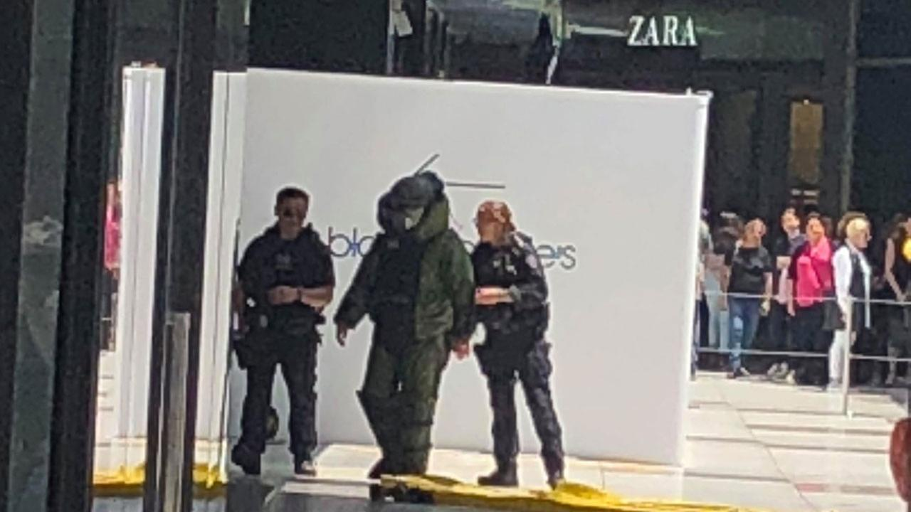 Los Angeles Police Department bomb squad crews investigating a suspicious package reported at Westfield Century City mall on Monday, May 28, 2018.