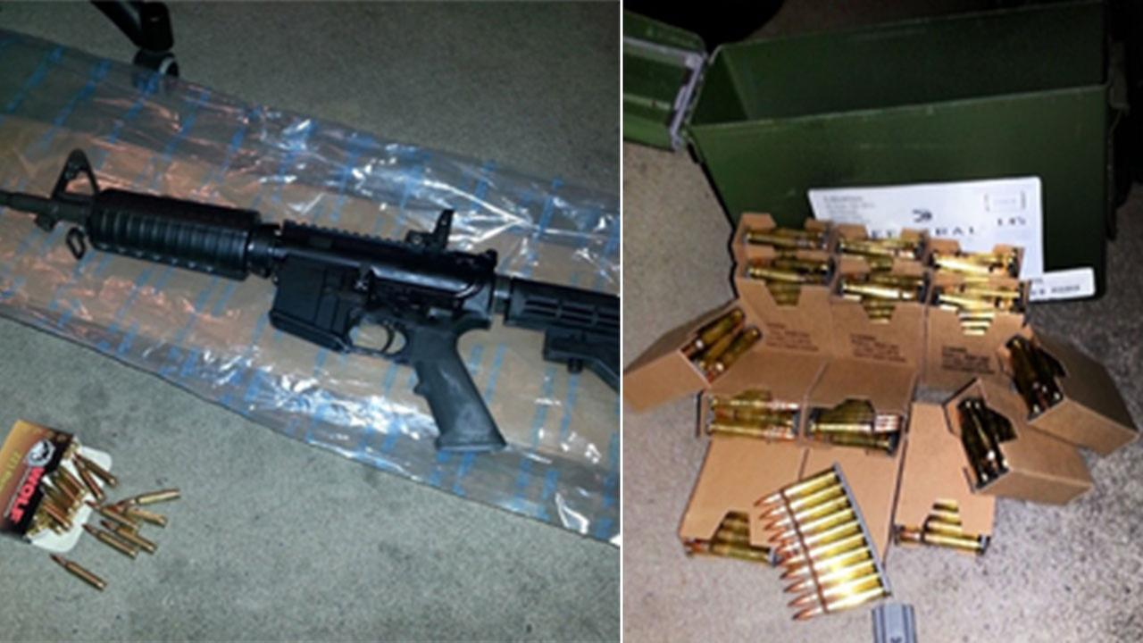 An assault rifle, handgun, several rounds of ammunition and illegal high capacity magazines were recovered at Sergio Castanon Jr.s home in Northridge Thursday, Oct. 16, 2014.