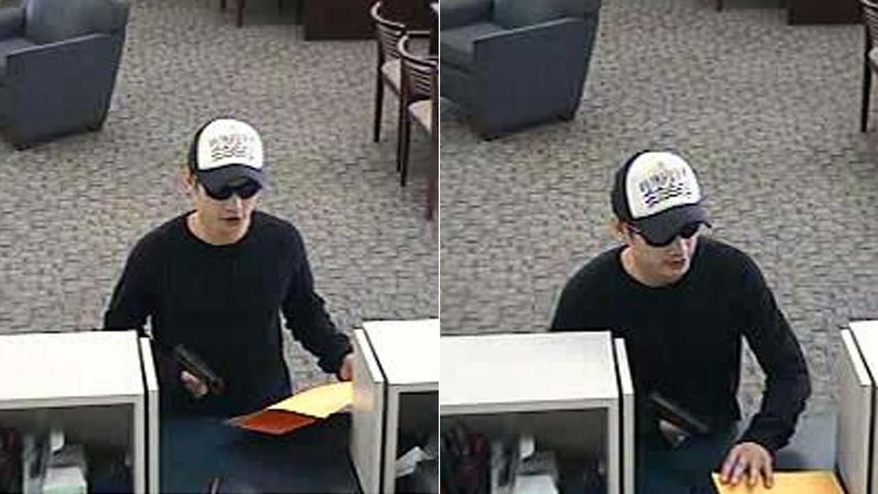 A bank robbery suspect who targeted a U.S. Bank branch in Garden Grove is shown in surveillance images provided by the Garden Grove Police Department.