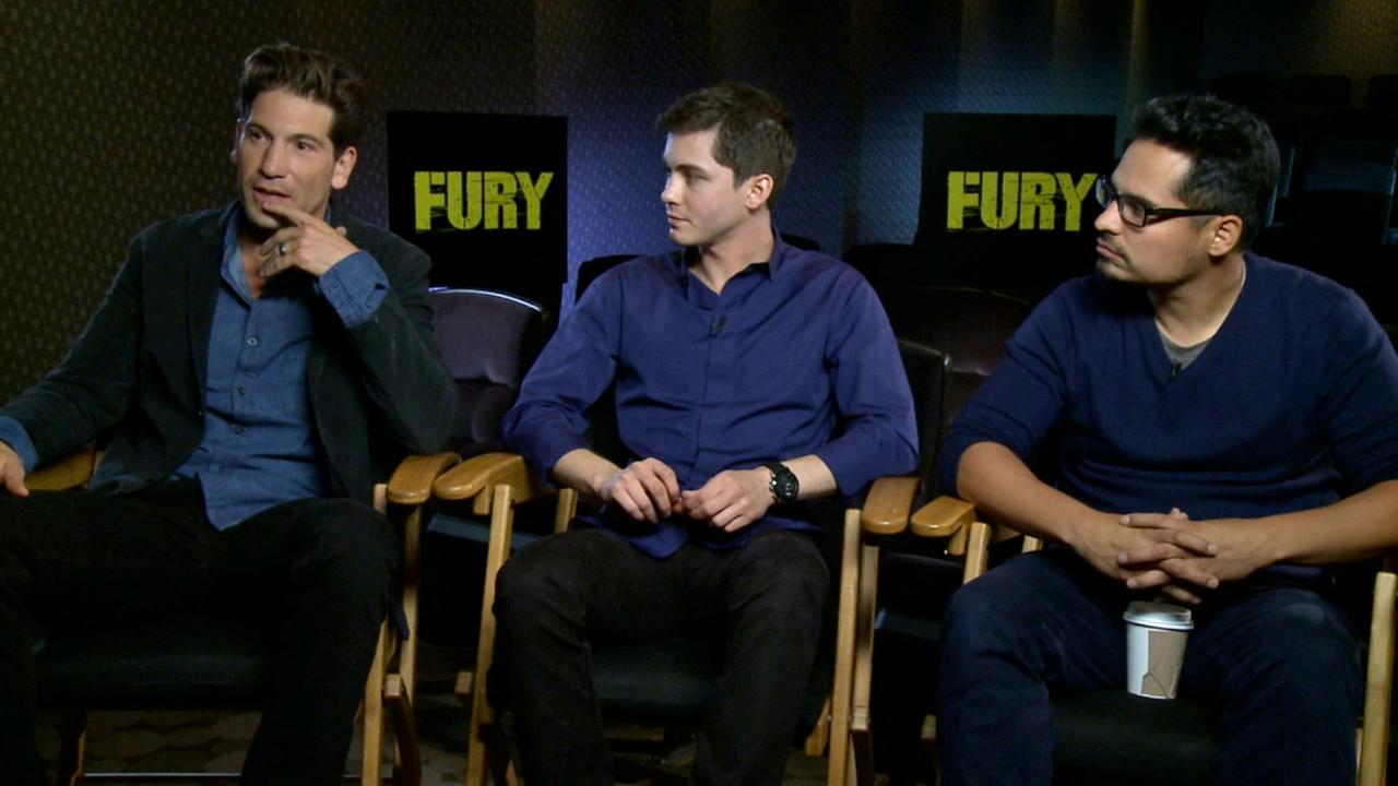 Jon Bernthal, Logan Lerman and Michael Pena promote their new movie, Fury.