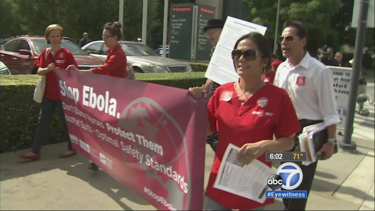 Local nurses held a protest outside St. Joseph Hospital of Orange Friday, Oct. 17, 2014, and urged hospitals to improve preparedness for Ebola patients.