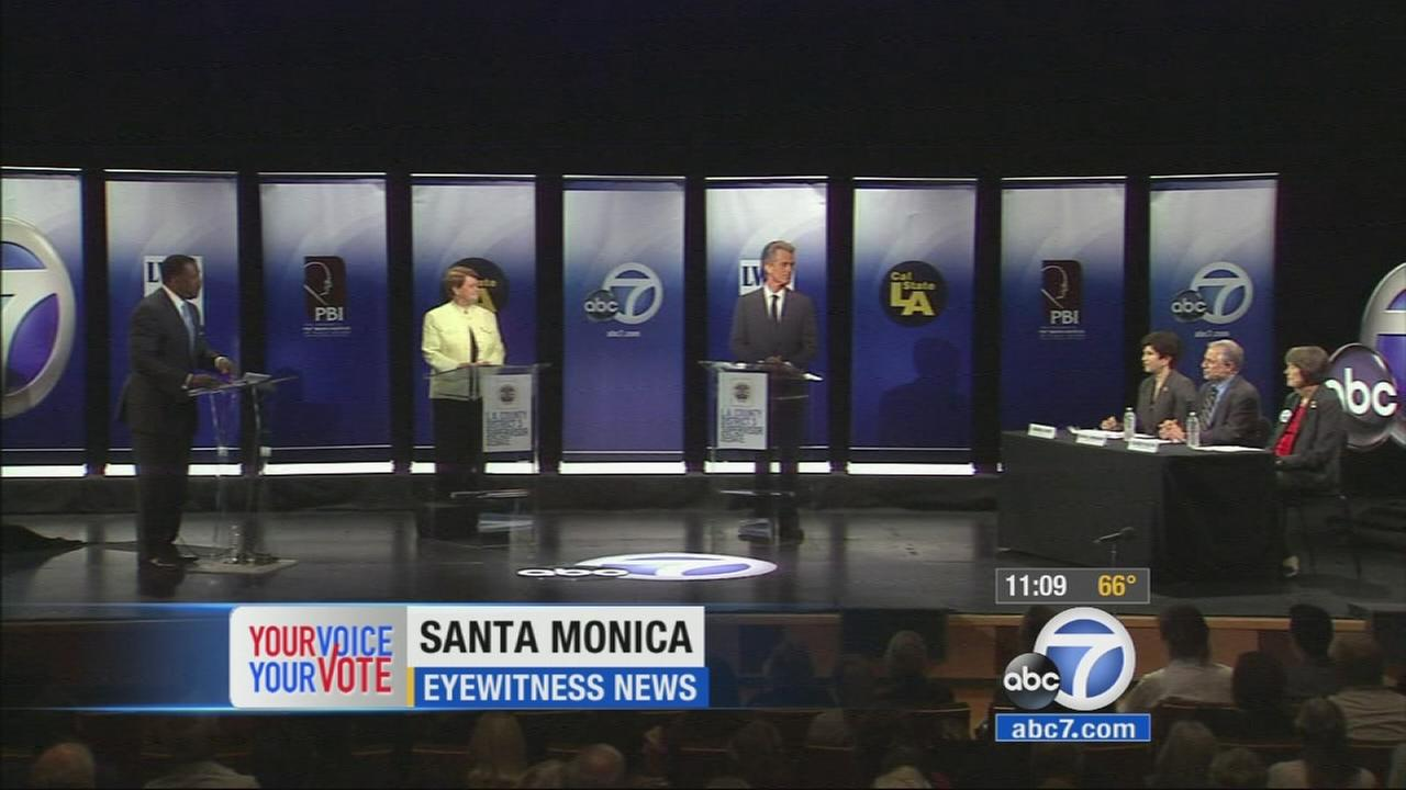 District 3 county supervisor candidates Sheila Kuehl and Bobby Shriver faced off in a debate Friday, Oct. 17, 2014.
