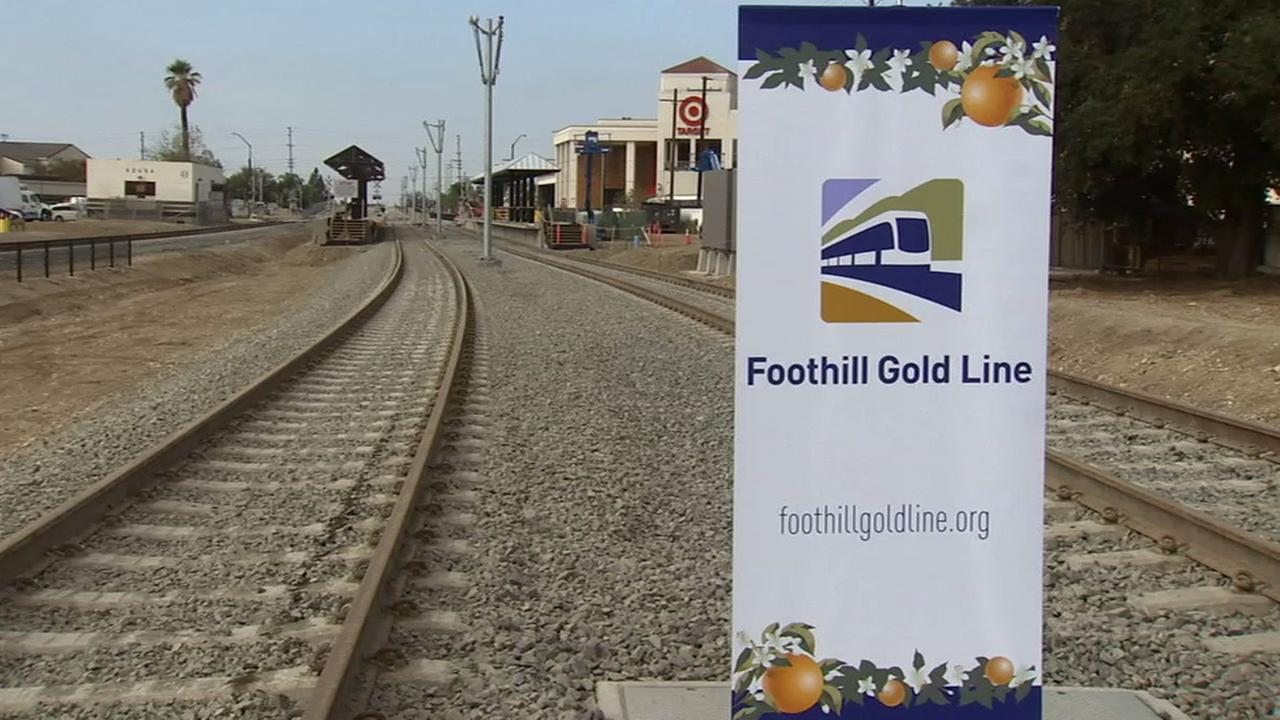 The Azusa portion of the Foothill Gold Line is shown on Saturday, Oct. 18, 2014.