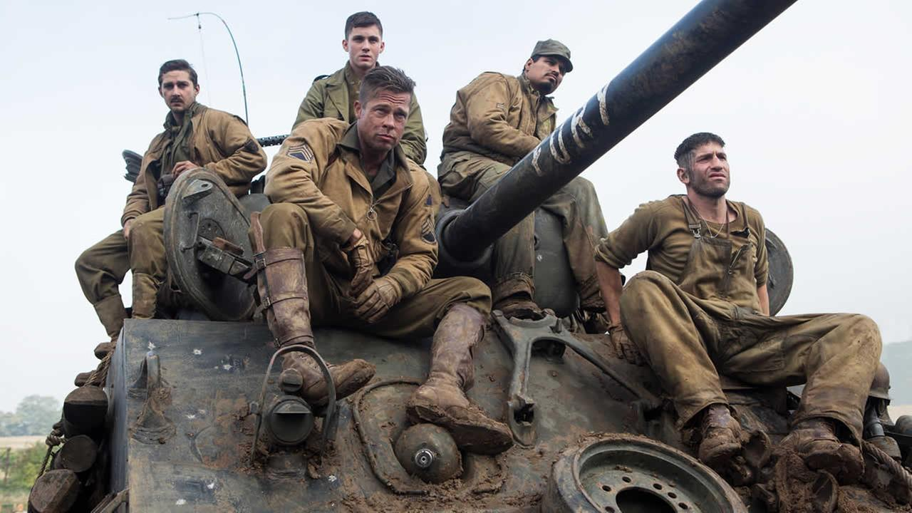 From left, Shia LaBeouf, Logan Lerman, Brad Pitt, Michael Pena, and Jon Bernthal, in Columbia Pictures Fury.