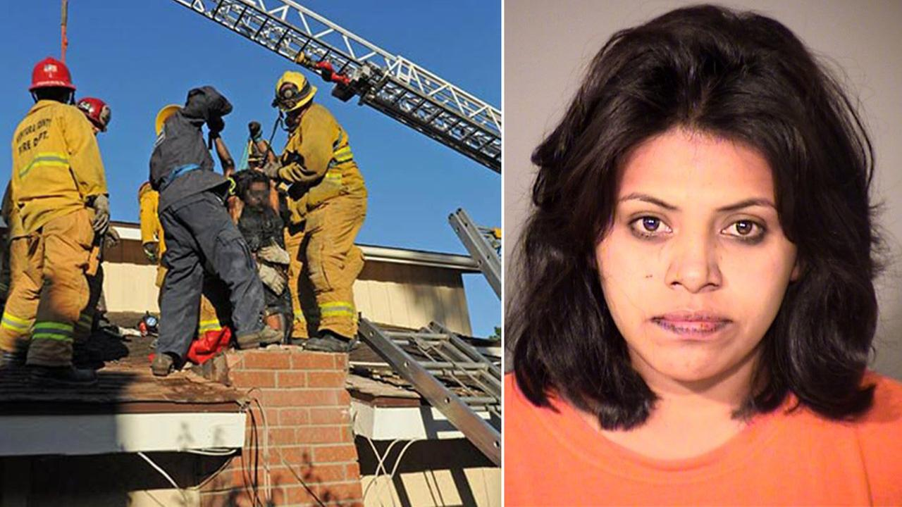 Firefighters rescue Genoveva Nunez-Figueroa from a chimney in Thousand Oaks. She was arrested for illegal entry and providing false information to a police officer.