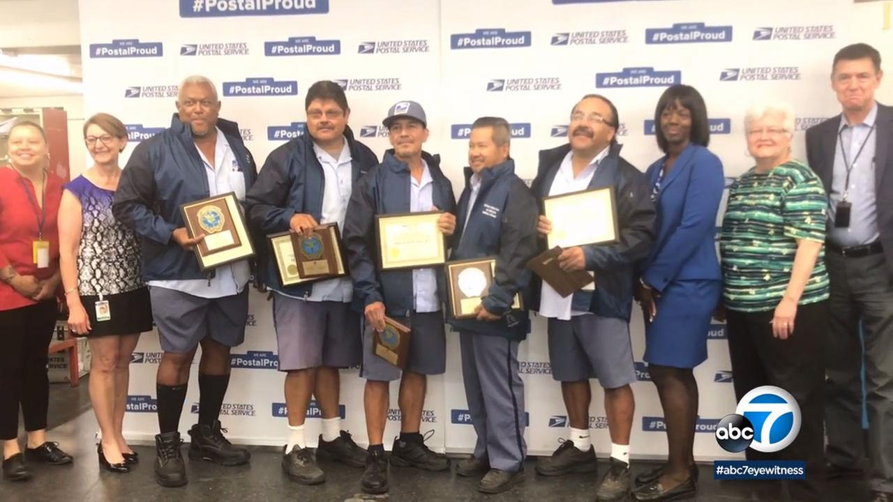 Nine postal carriers in Long Beach were honored for 30 years of accident-free mail delivery.