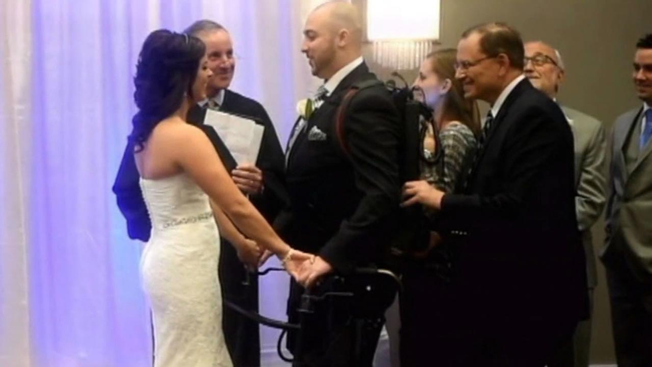 New York resident Matt Ficarra has been paralyzed from the chest down since an accident three years ago, but that didnt stop him from walking down the aisle.