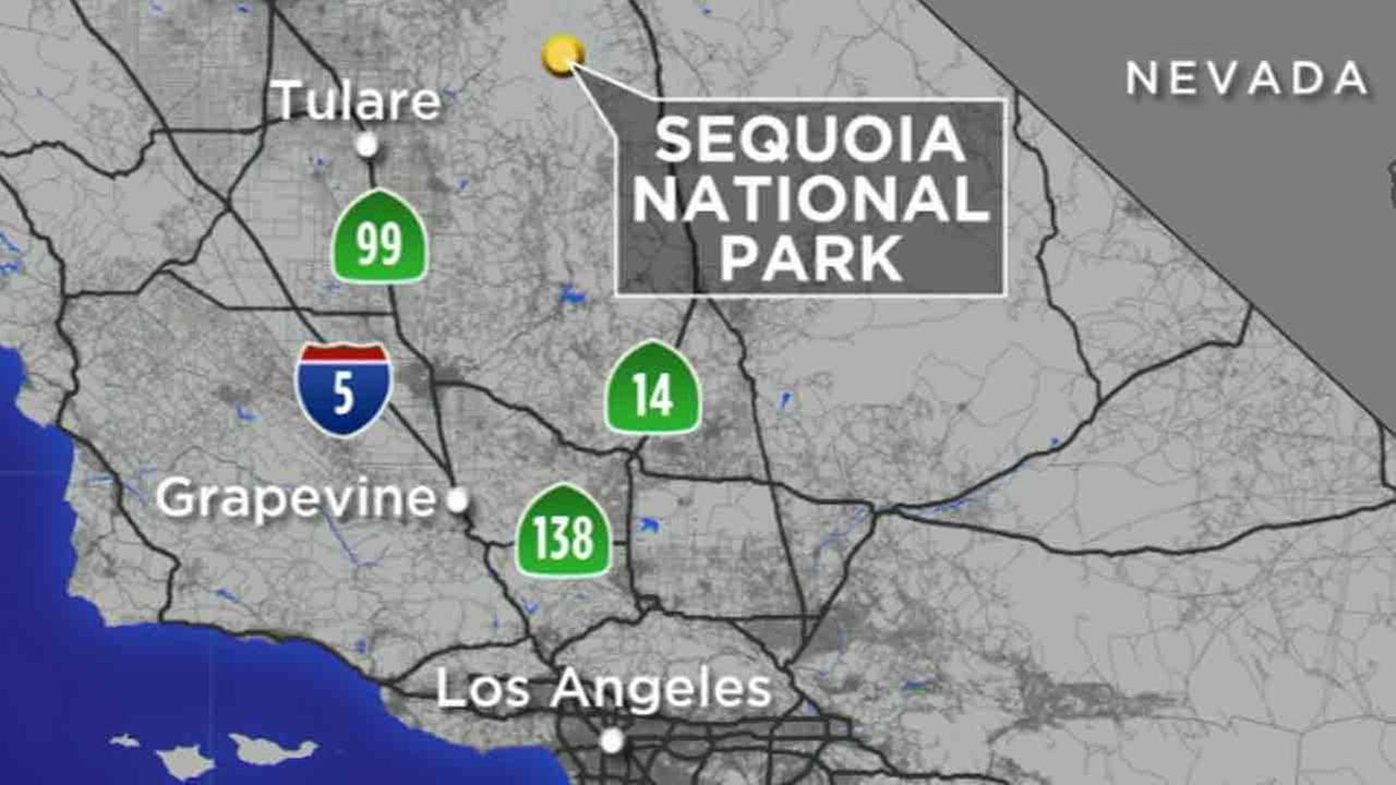 This map shows the location of Sequoia National Park.