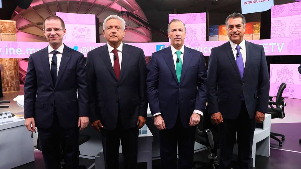 Mexicos presidential candidates attend the third and final debate at the Museum of the Mayan World of Merida, Mexico, Tuesday, June 12, 2018.