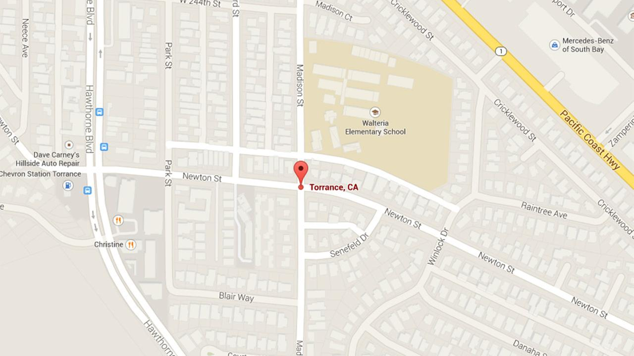 A Google Map shows the location in Torrance where two kids were struck and injured by a car on Tuesday, Oct. 21, 2014.