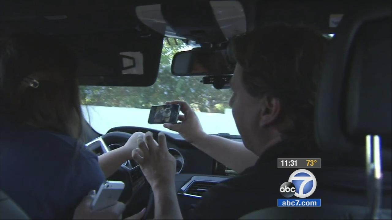 Students at Notre Dame High School in Sherman Oaks received a hands-on lesson about the serious dangers behind distracted driving on Tuesday, Oct. 2,1 2014.