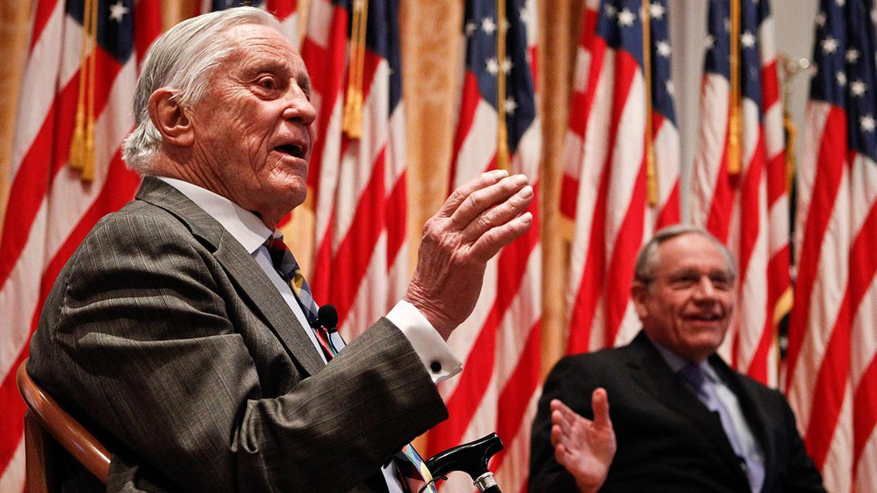 Ben Bradlee, former executive editor of the Washington Post, left, died at his home Tuesday, Oct. 21, 2014 of natural causes. He was 93.  <span class=meta>(Chris Carlson )</span>