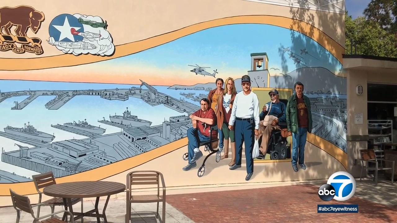 More than 60 people helped paint the mural at the Century Villages at Cabrillo gated community.