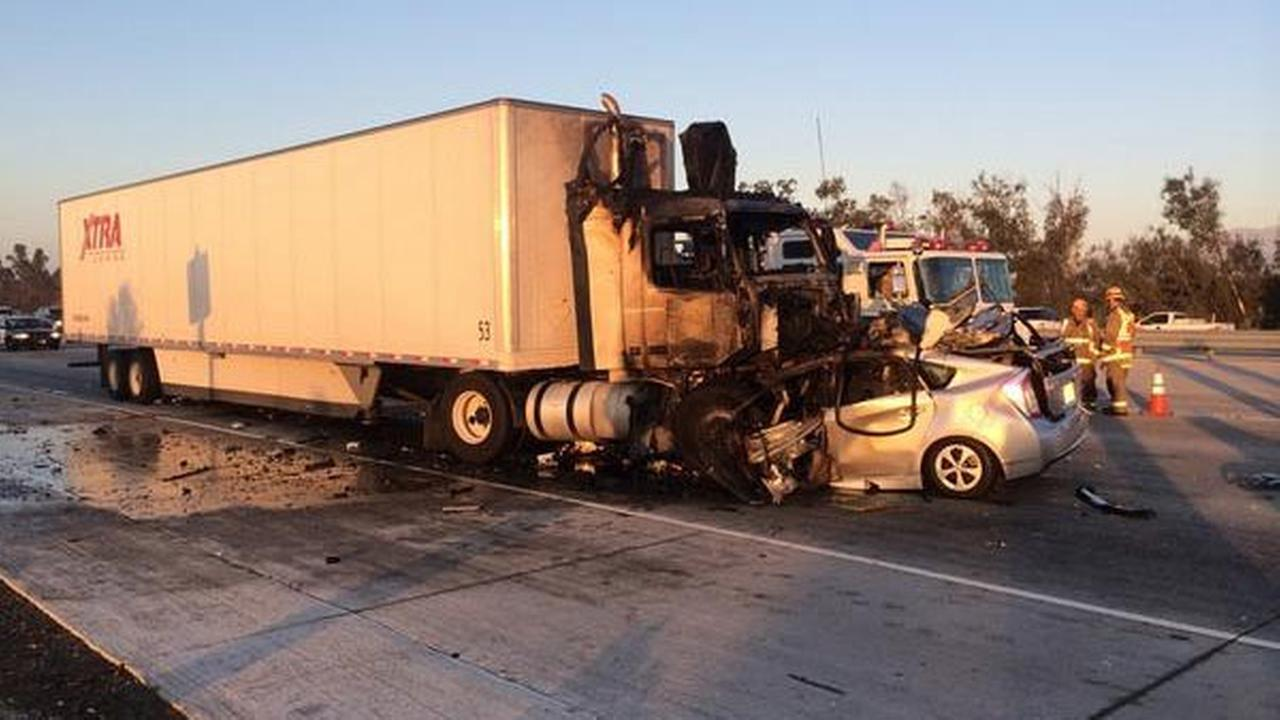 Multiple lanes were closed on the northbound 15 Freeway in Rancho Cucamonga due to a fatal crash involving a wrong-way driver on Wednesday, Oct. 22, 2014.