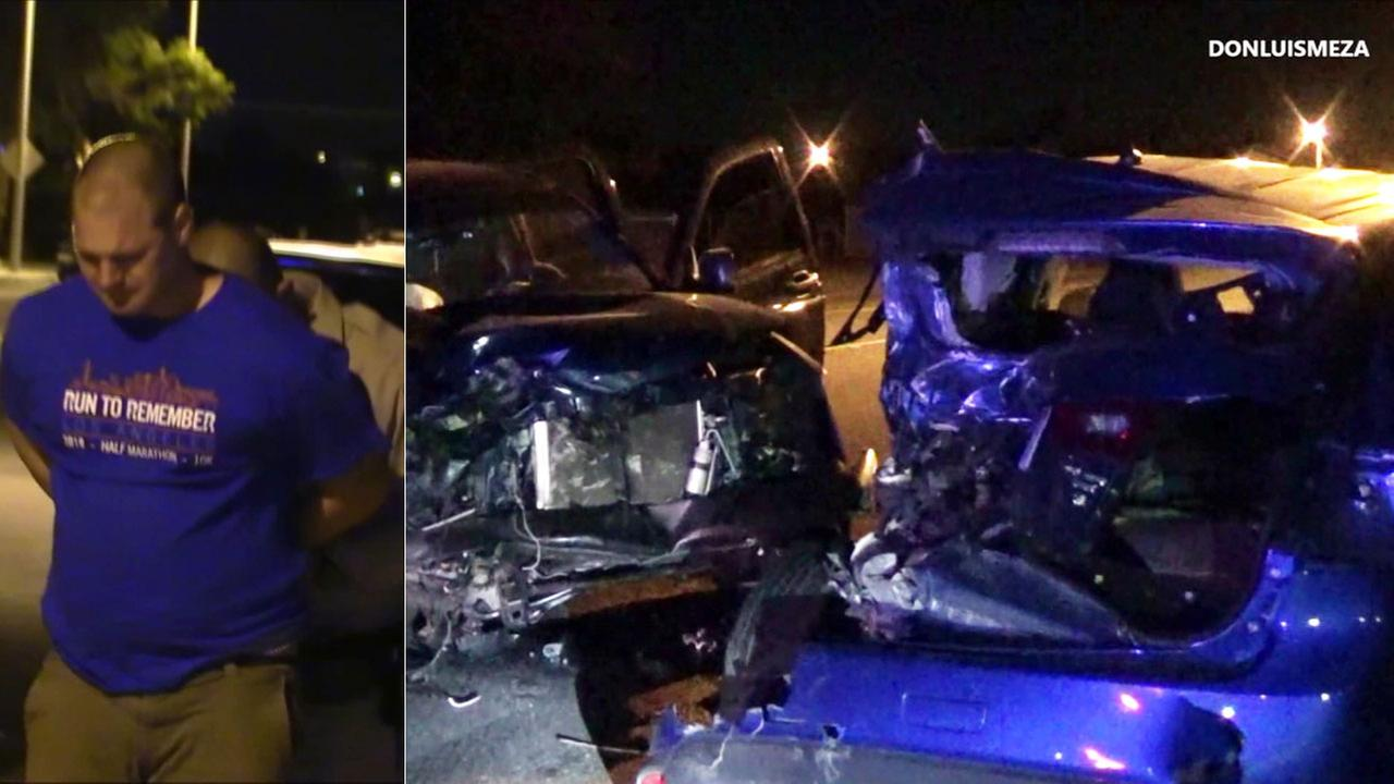 A man is arrested on suspicion of DUI after crashing into several parked cars in Palmdale early Sunday, June 17, 2018.