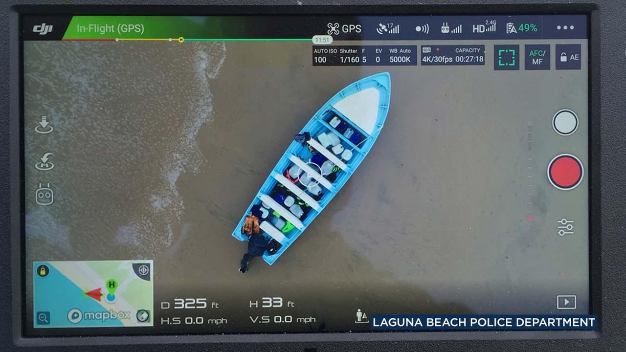 A photo posted to Laguna Beach Police Departments Twitter account shows a panga boat that landed on Crystal Cove State Beach on Tuesday, June 19, 2018.