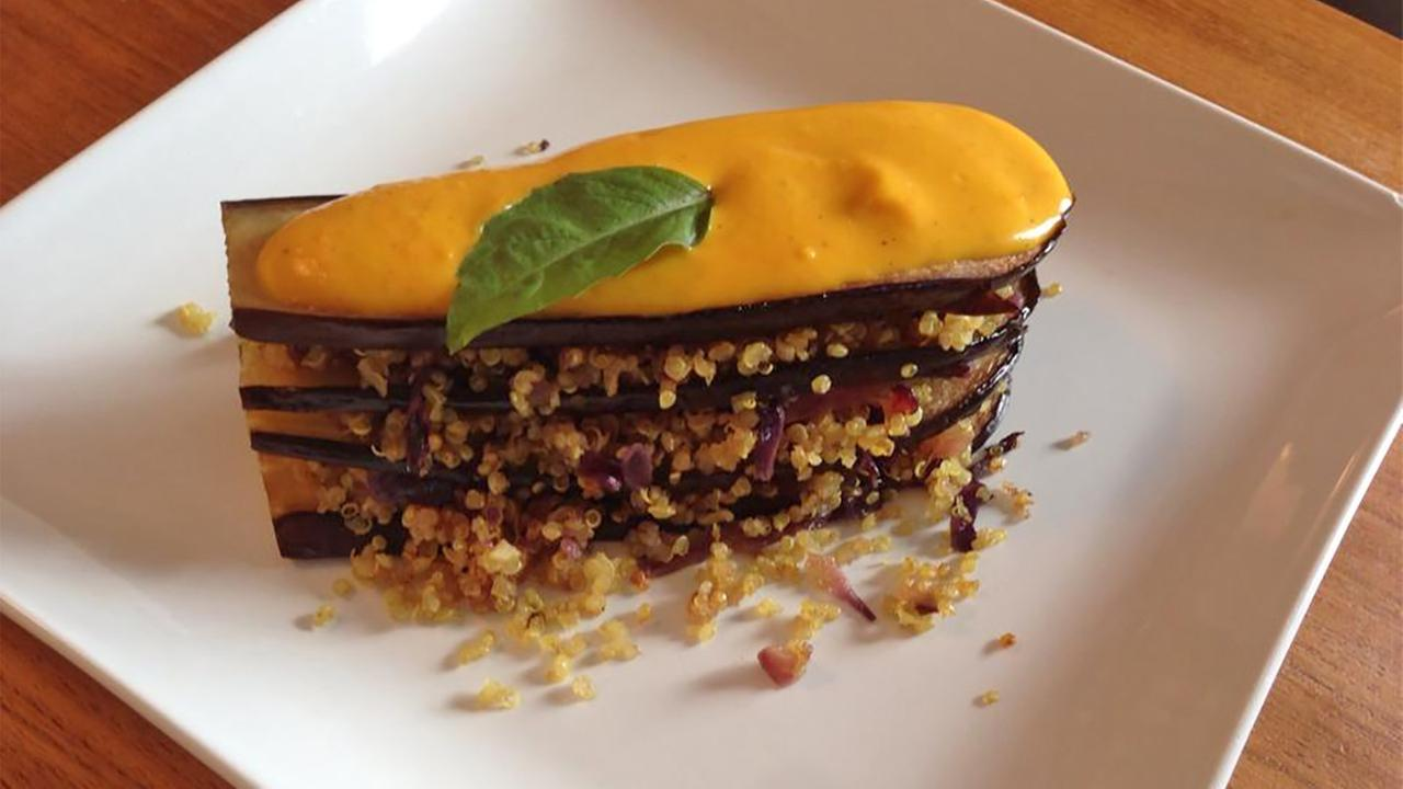 Eggplant Quinoa Lasagna with Pumpkin Cashew Cream