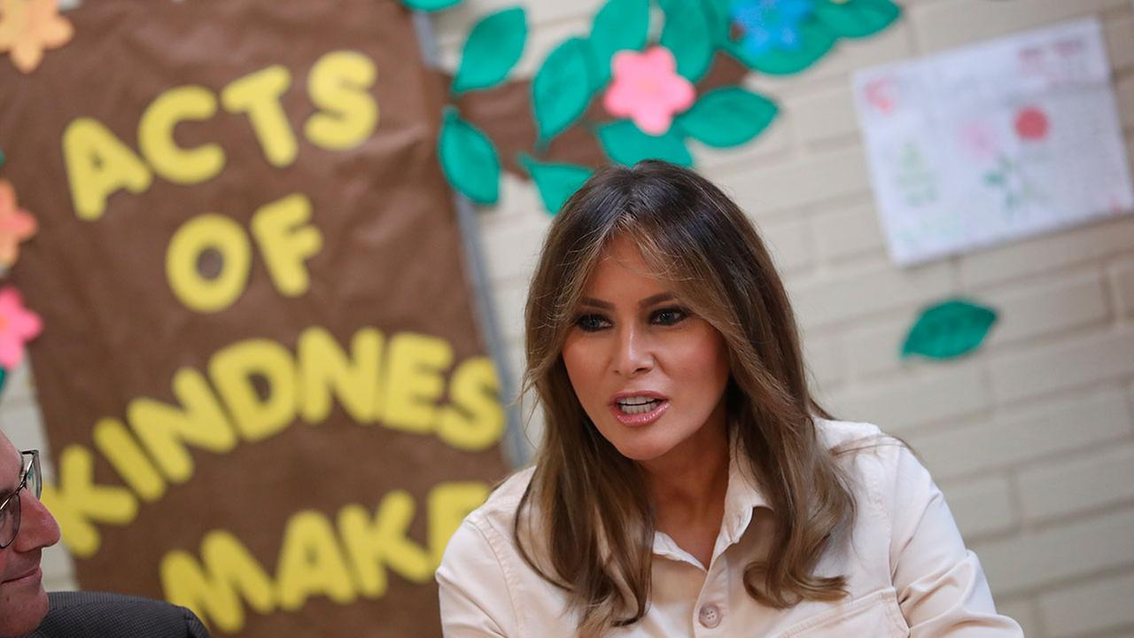 First lady Melania Trump visits the Upbring New Hope Children Center, run by the Lutheran Social Services of the South, in McAllen, Texas, Thursday, June 21, 2018.