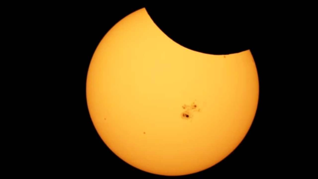 The image from the Griffith Observatory shows a partial solar eclipse on Thursday, Oct. 23, 2014.