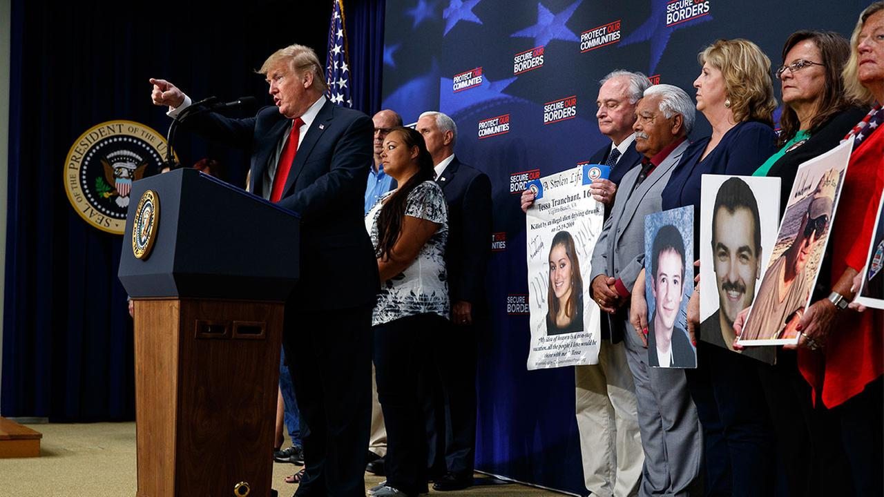 President Donald Trump speaks about immigration alongside family members affected by crime committed by undocumented immigrants Friday, June 22, 2018, in Washington.