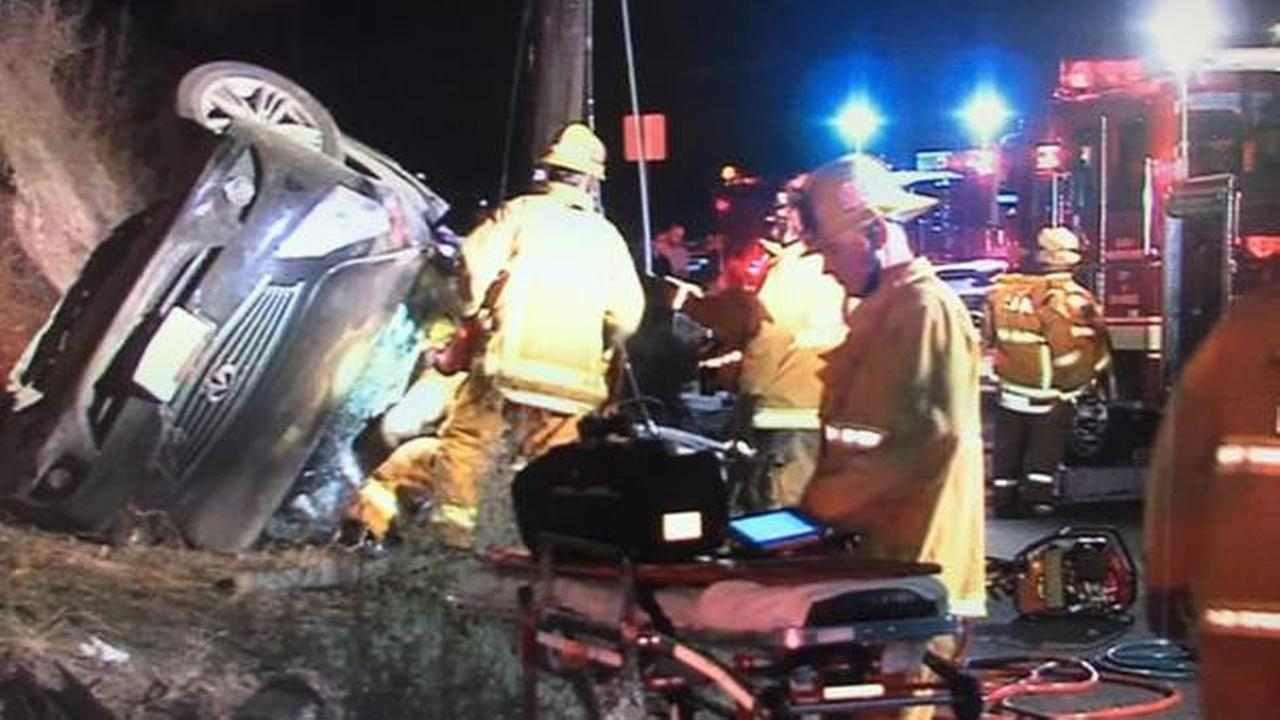 A woman was killed in a high-speed crash in Shadow Hills Friday, Oct. 24, 2014.