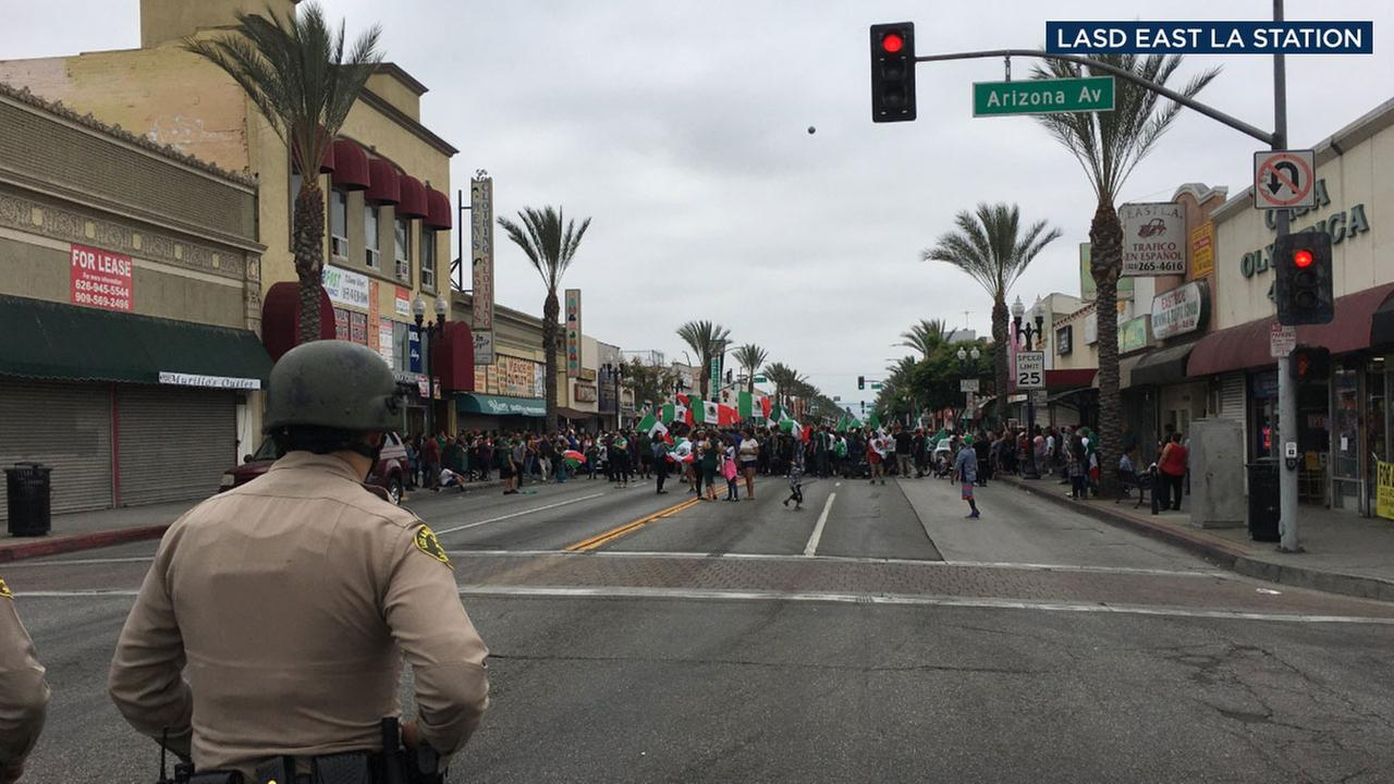 Authorities closed down a portion of Whittier Boulevard in East Los Angeles as crowds formed to celebrate Mexicos second win in the World Cup on Saturday