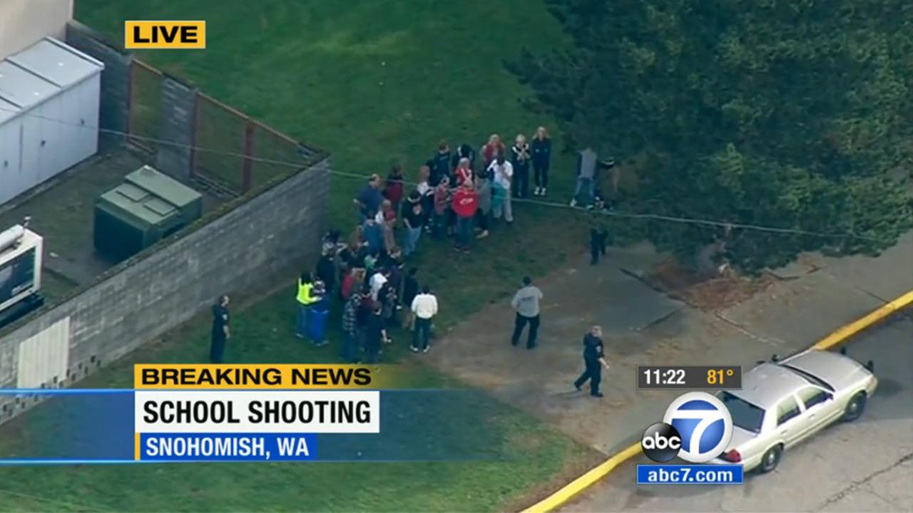 Police responded to a high school north of Seattle for a possible active shooter incident on Friday, Oct. 24, 2014.
