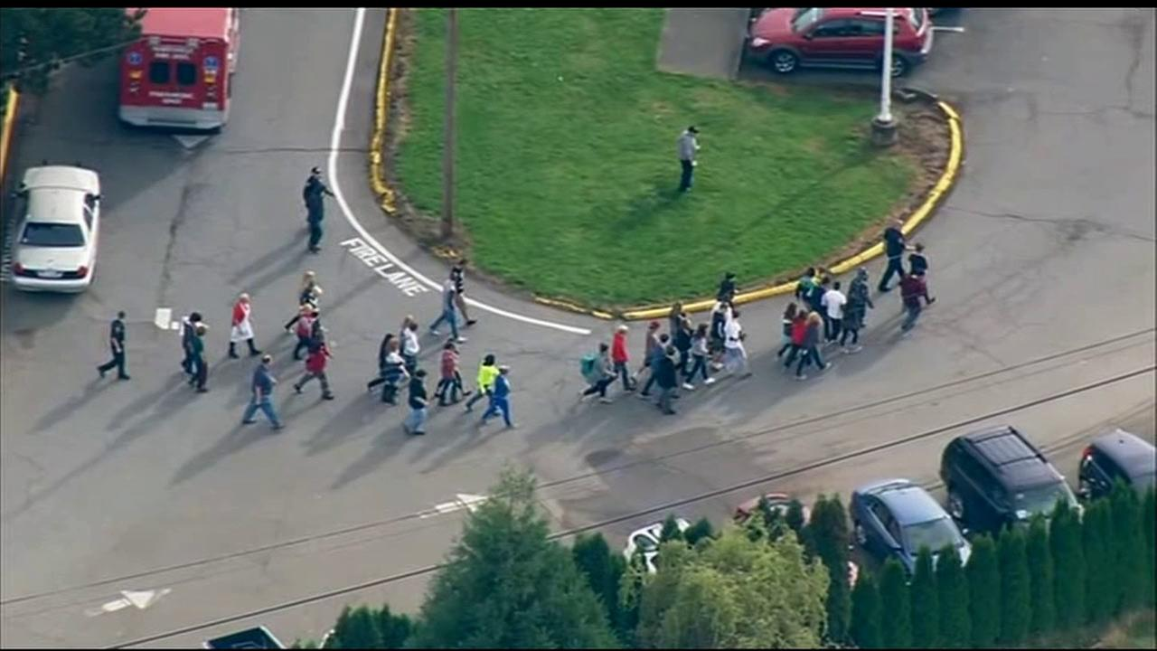 Police responded to Marysville-Pilchuck High School, north of Seattle, for a possible active shooter incident on Friday, Oct. 24, 2014.