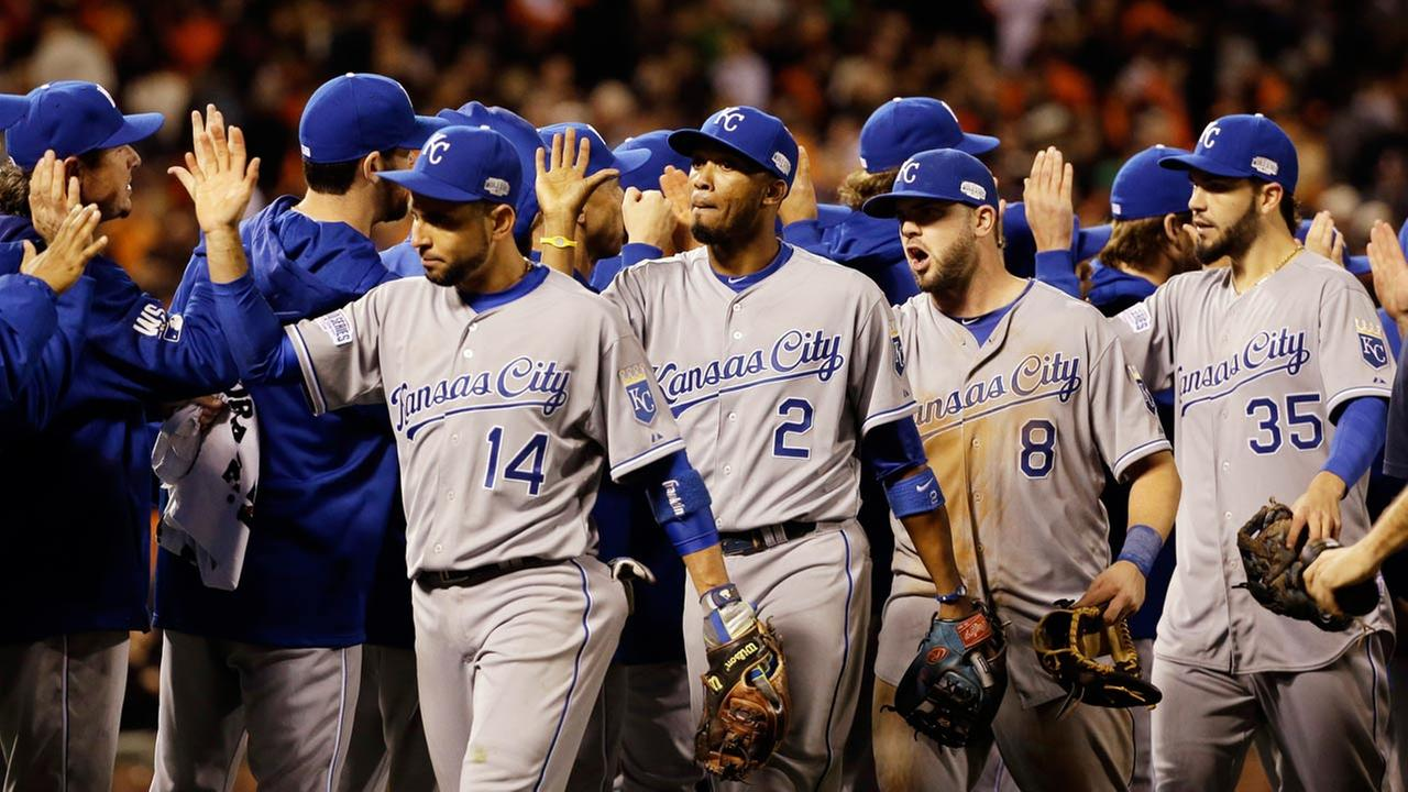 The Kansas City Royals celebrate after Game 3 of baseballs World Series against the San Francisco Giants Friday, Oct. 24, 2014, in San Francisco.