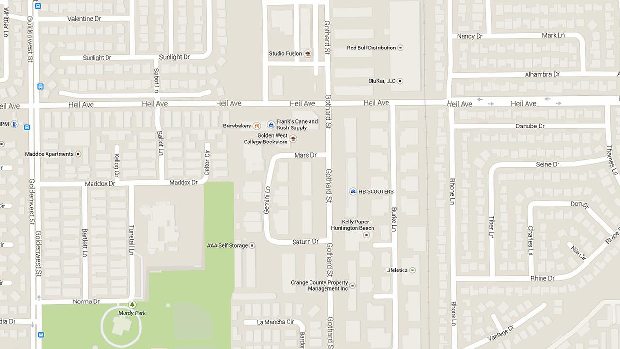 A map show the intersection of Gothard Street and Heil Avenue in Huntington Beach.