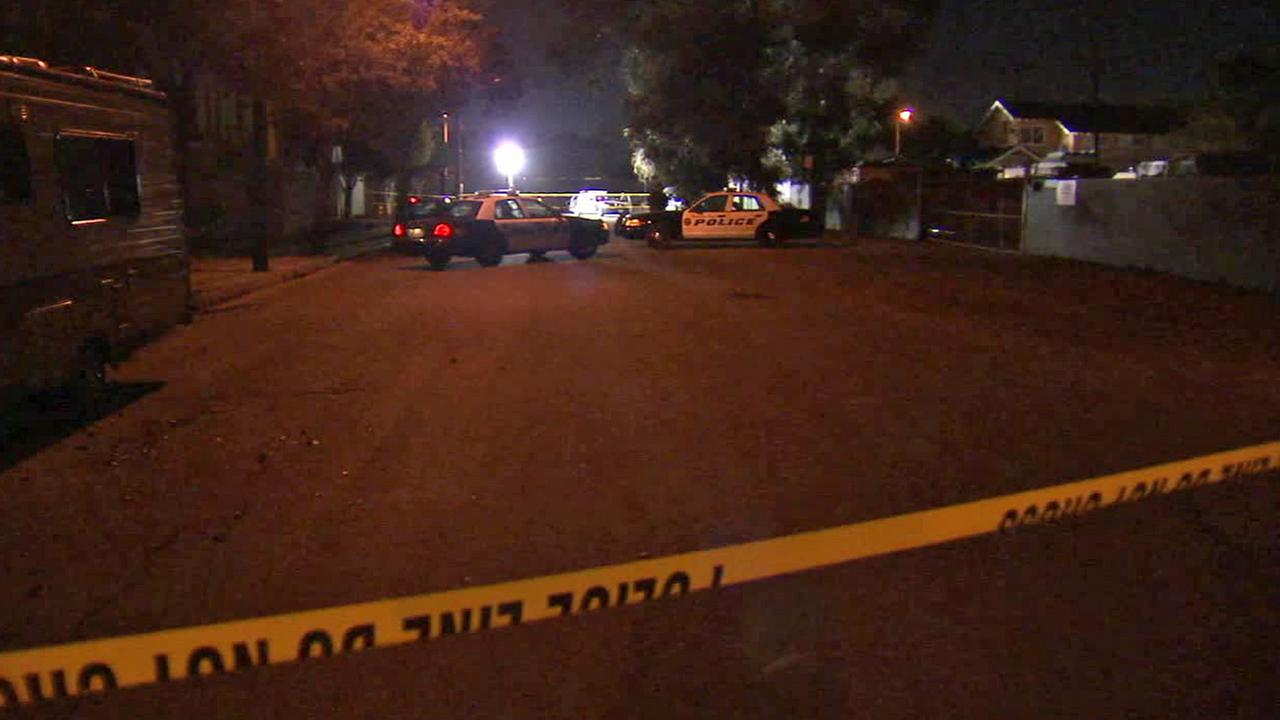 Authorities investigate an officer-involved shooting that left a man dead in Huntington Beach on Saturday, Oct. 25, 2014.