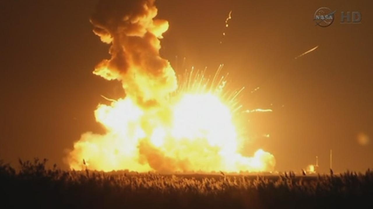 The unmanned Antares rocket exploded moments after liftoff in Virginia Tuesday, Oct. 28, 2014.