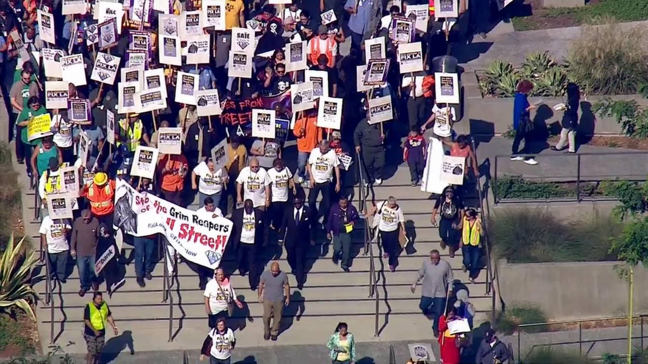 A big march and rally was held in downtown Los Angeles by members of the Fix L.A. Coalition, which includes the coalition of L.A. city unions and community organizations.