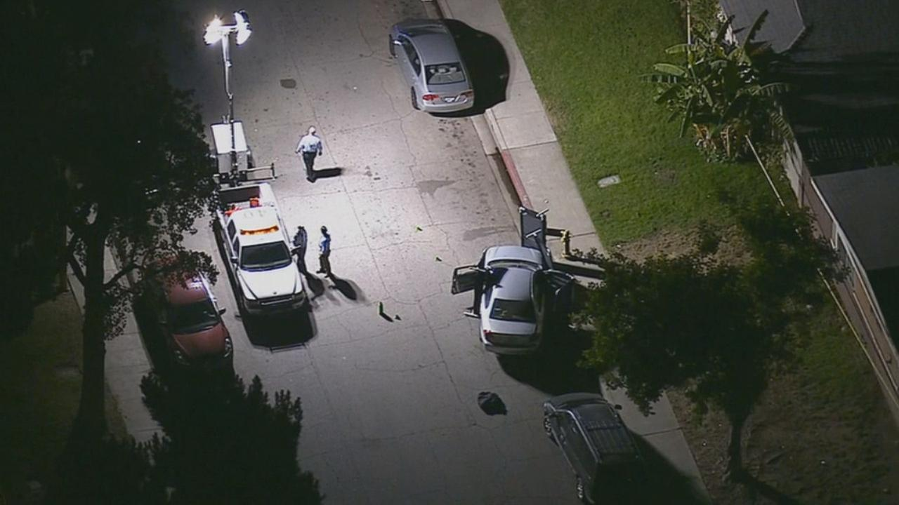 A male passenger was fatally shot in a car on the 4500 block of Canoga Street at Ramona Avenue by occupants in another car in Montclair Tuesday, Oct., 28, 2014.