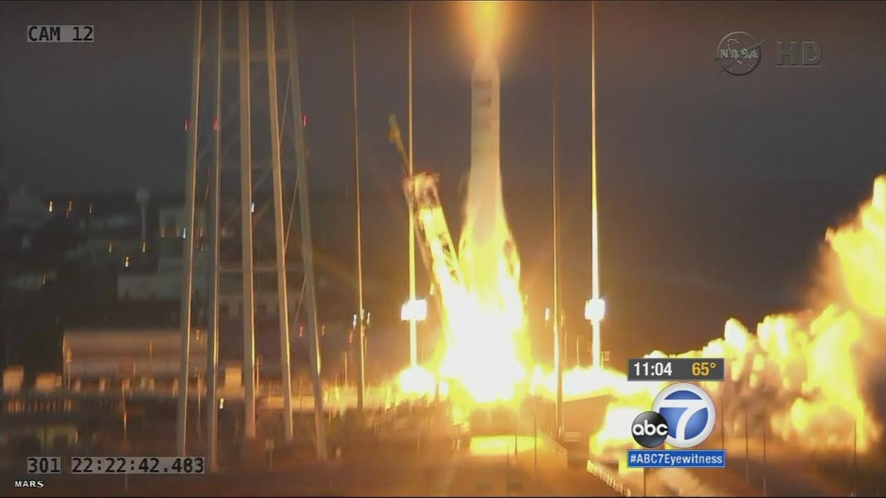 An unmanned commercial supply rocket bound for the International Space Station exploded moments after liftoff Tuesday, Oct. 28, 2014.
