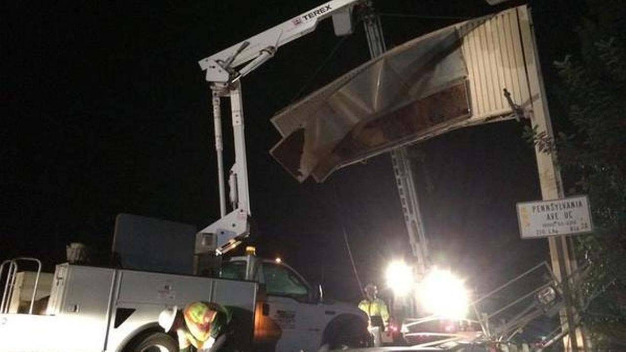 A big rig crashed into a 210 Freeway sign in La Crescenta on Tuesday, Oct. 28, 2014.