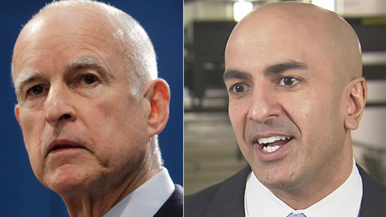 Left: Gov. Jerry Brown speaks in Sacramento in this Nov. 7, 2012 file photo. Right: Neel Kashkari speaks to Eyewitness News in this October 2014 photo.