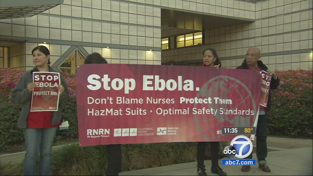 Nurses at Ronald Reagan UCLA Medical Center claim they are not ready for an Ebola outbreak, saying they do not have the right training and equipment.