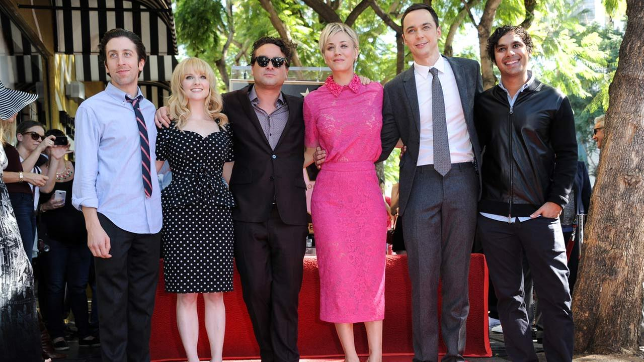 Simon Helberg, Melissa Rauch, Johnny Galecki, Kaley Cuoco, Jim Parsons, and Kunal Nayyar attend the ceremony honoring Cuoco with a star on the Hollywood Walk of Fame Oct. 29, 2014.