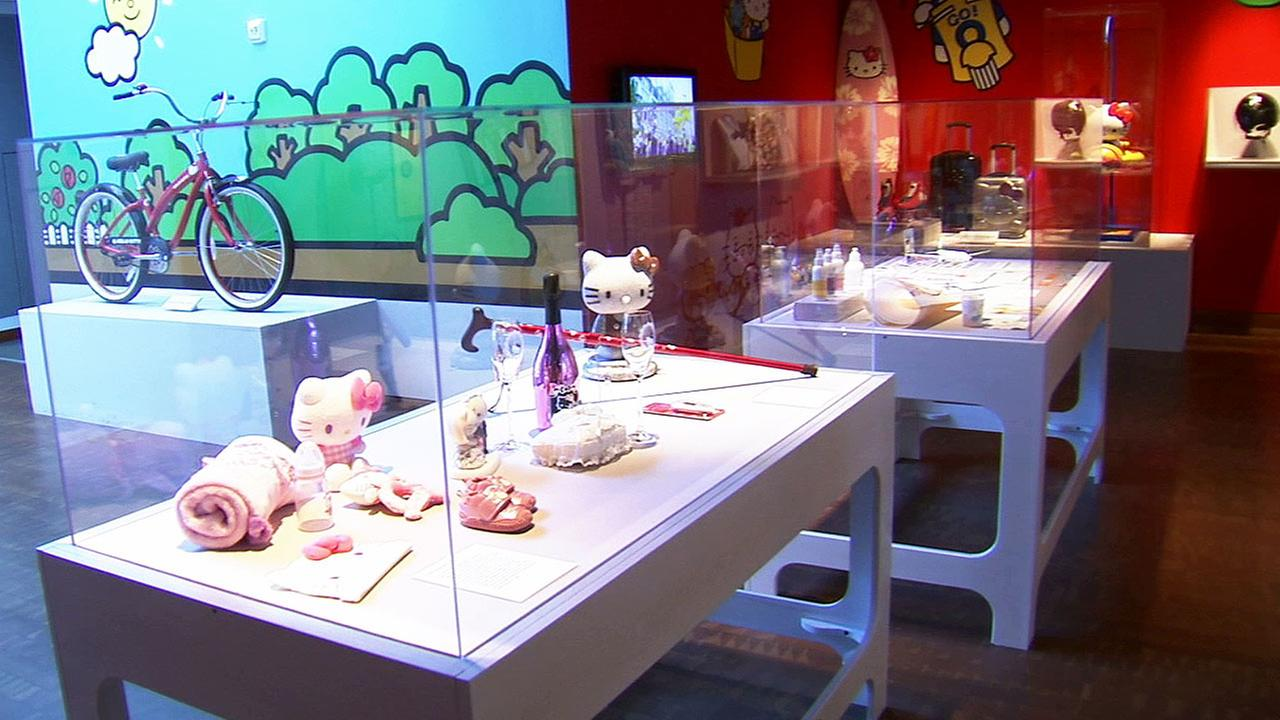 Hello Kitty memorabilia are displayed at the Museum of Contemporary Art  in downtown Los Angeles for the first ever Hello Kitty Con 2014.