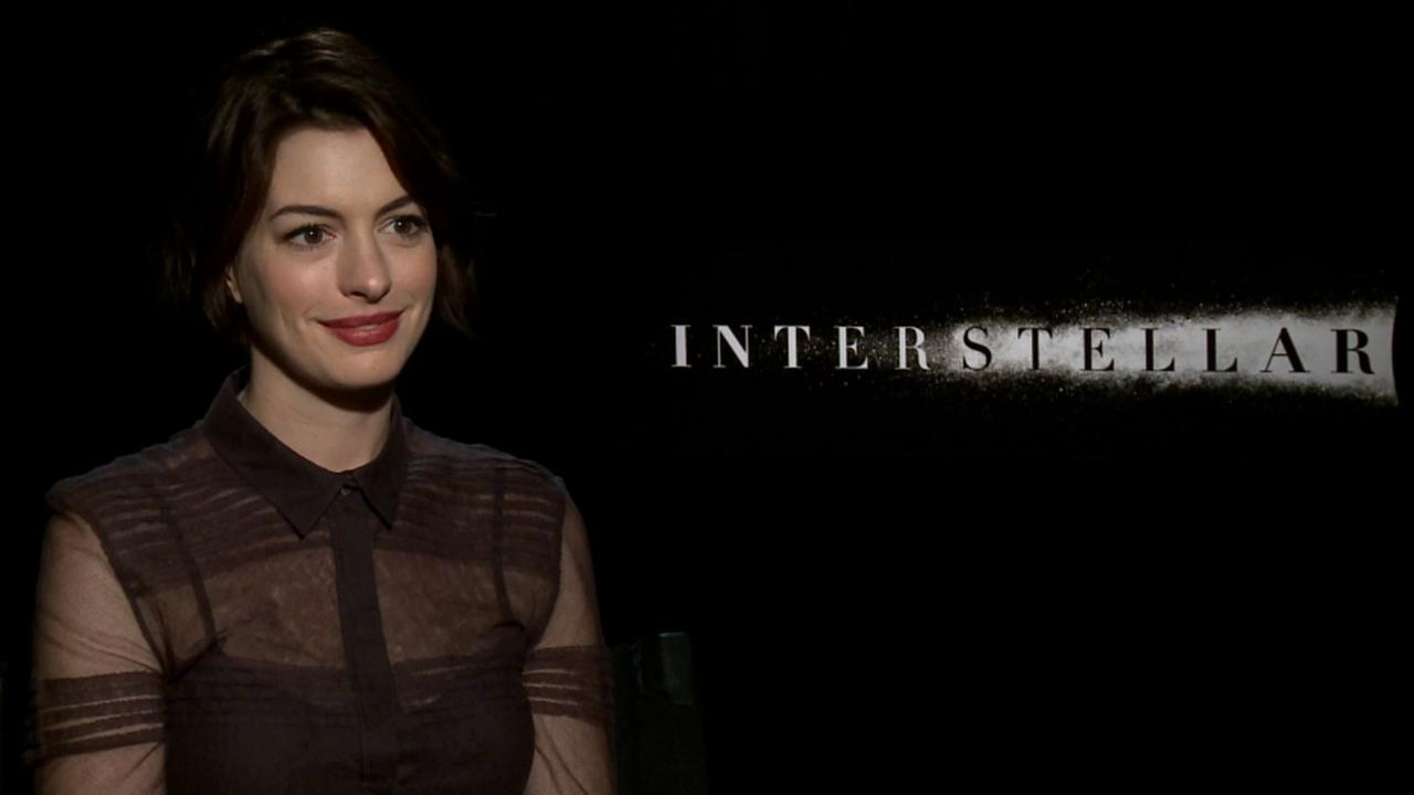 Actress Anne Hathaway promotes her film Interstellar.
