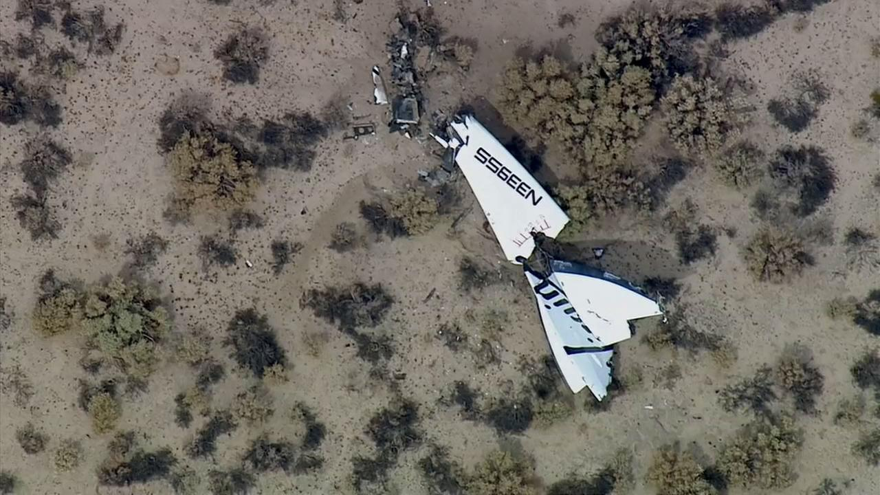 Debris from Virgin Galactics SpaceShipTwo space tourism rocket is shown following an accident in the Mojave Desert on Friday, Oct. 31, 2014.