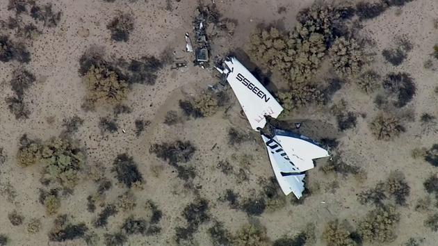 Debris from Virgin Galactic's SpaceShipTwo space tourism rocket is shown following an accident in the Mojave Desert on Friday, Oct. 31, 2014. <span class=meta></span>