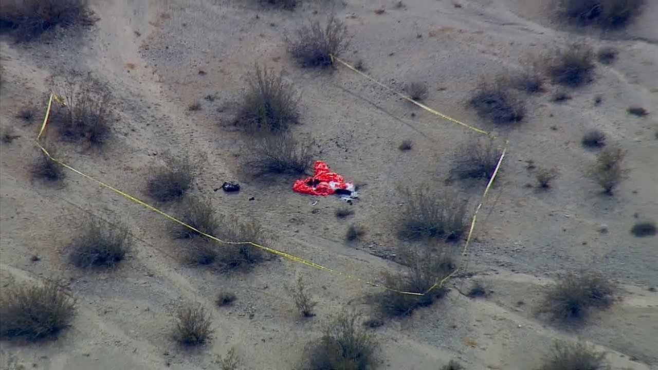 Yellow tape ropes off the scene where Virgin Galactics SpaceShipTwo space tourism rocket crashed in the Mojave Desert on Friday, Oct. 31, 2014.